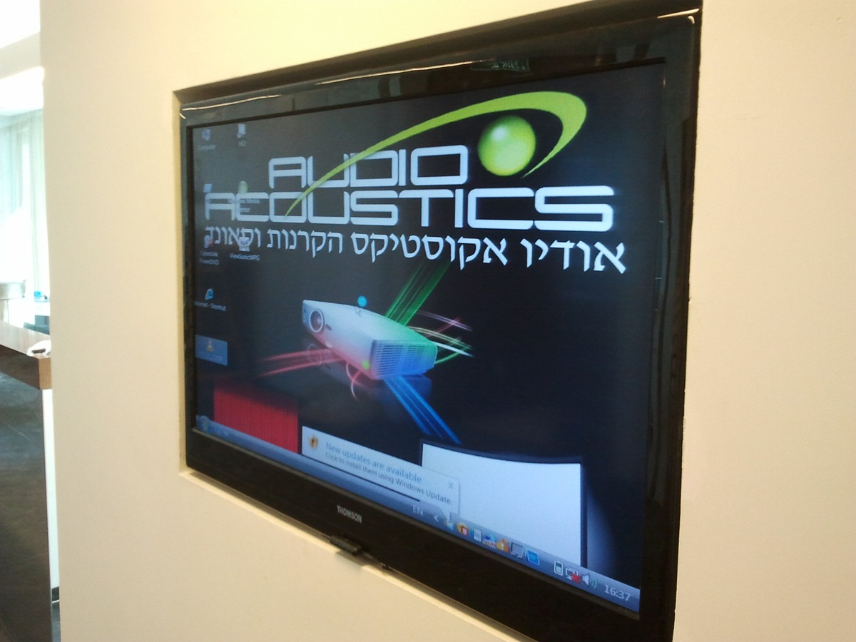 התקנת טלוויזיה בנישת גבס במשרד
