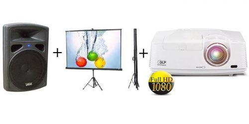 השכרת מקרן FULL HD + מסך + הגברה